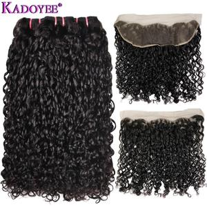 Double Drawn Funmi Hair Weave 3+1 Bundles with 13x4Lace Frontal Closure Pissy Curl Pixie Flexi Curly Remy Human Hair Extensions(China)