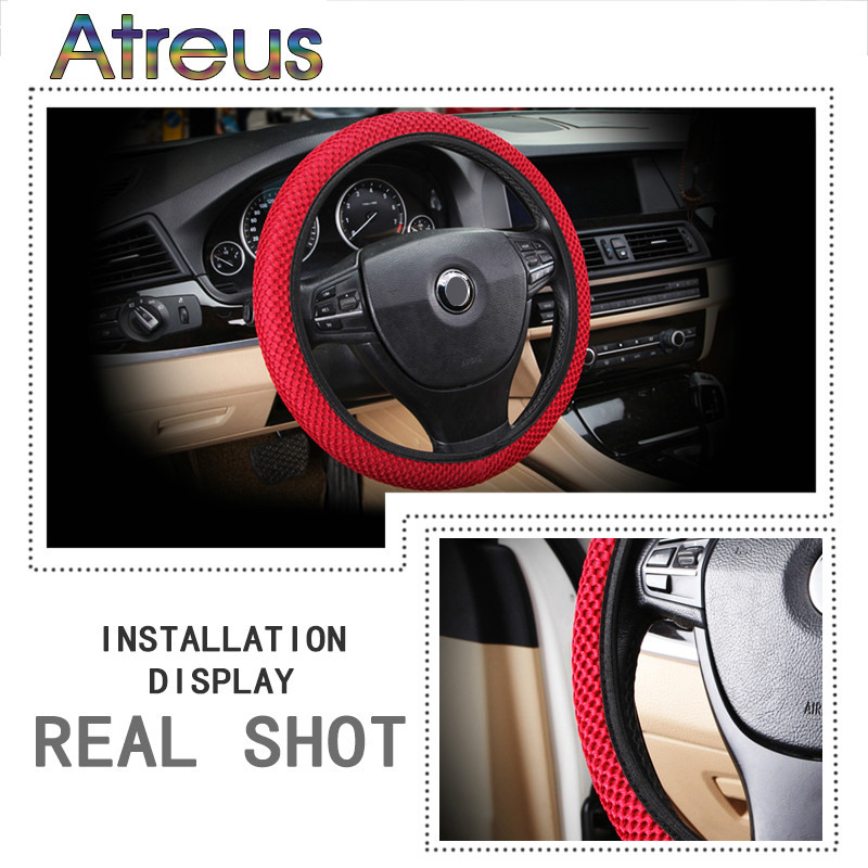 DIY Skidproof Car Styling Steering-<font><b>Wheel</b></font> <font><b>Cover</b></font> For Ford Focus 2 3 VW <font><b>Passat</b></font> <font><b>B6</b></font> B5 B7 T4 Skoda Rapid Fabia Octavia A5 A7 image