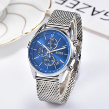 BOSS Men Watches Waterproof Date Wrist Watch Male Mesh Strap Casual Quartz Clock Watch Stainless Steel цены