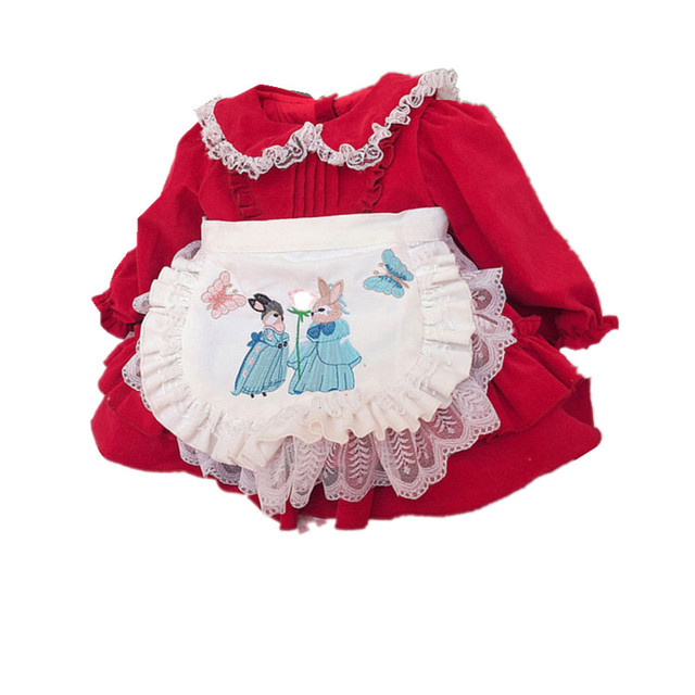 Kızlar için Vintage nakış tavşan elbise çocuk kız uzun kollu kırmızı bebek kız dantel önlük prenses parti yeni yıl noel elbise