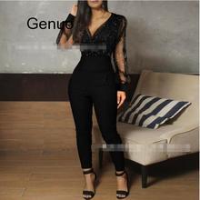 Party Jumpsuit Glitter Semi Sheer Mesh Bodycon Long Sleeve Women Skinny Casual Solid Romper sheer mesh contrast sequin romper