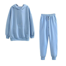 2021 Autumn And Winter Women's Sportswear Thick Pile Cotton Jacket 2-Piece Hoodie Sweatshirt And Pants Suit