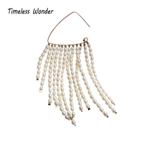 Timeless Wonder Glam Baroque Braided Freshwater Pearl Tassel Dangle Drop Earrings Women Jewelry Punk Gothic Boho Boutique 3266