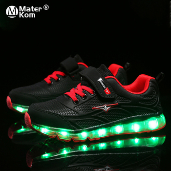 Size 27-37 Boys USB Charging Glowing Shoes Luminous Sneakers for Girls Kid Led Light Up Shoes Child Breathable Glowing Sneakers