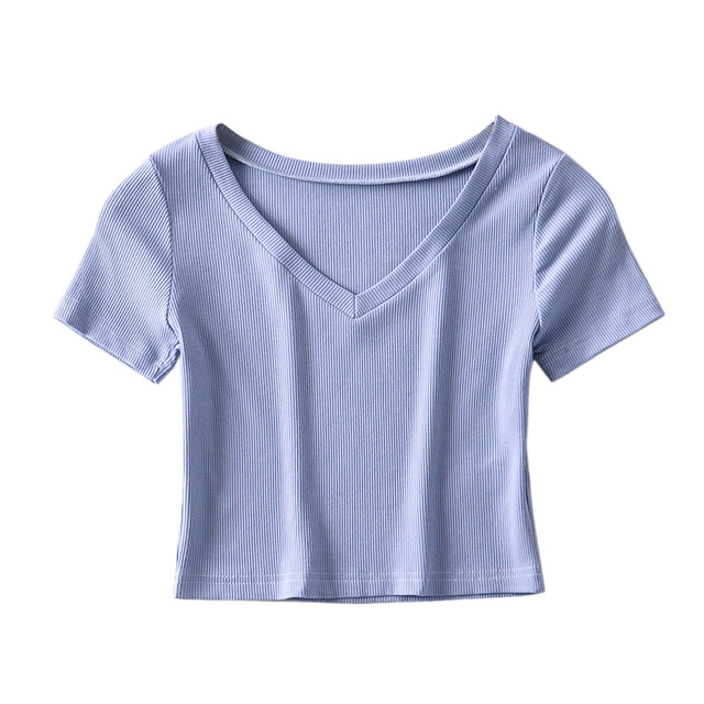 Bradely Michelle Casual Cotton New 2020 Summer Woman Slim Fit t-shirt tight Short-Sleeve V-neck tee Crop Tops 4