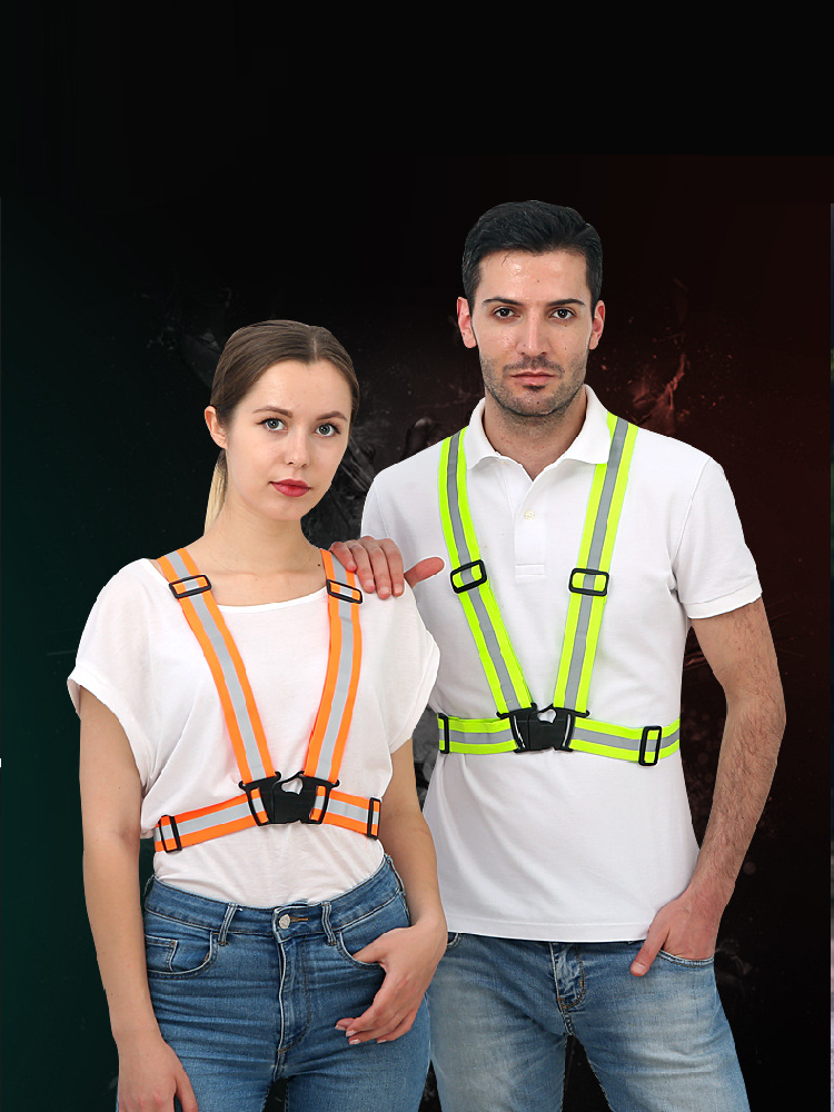 Vest Cycling-Safety-Vest Elastic-Strap Reflective Fluorescence-Work Running High-Visibility
