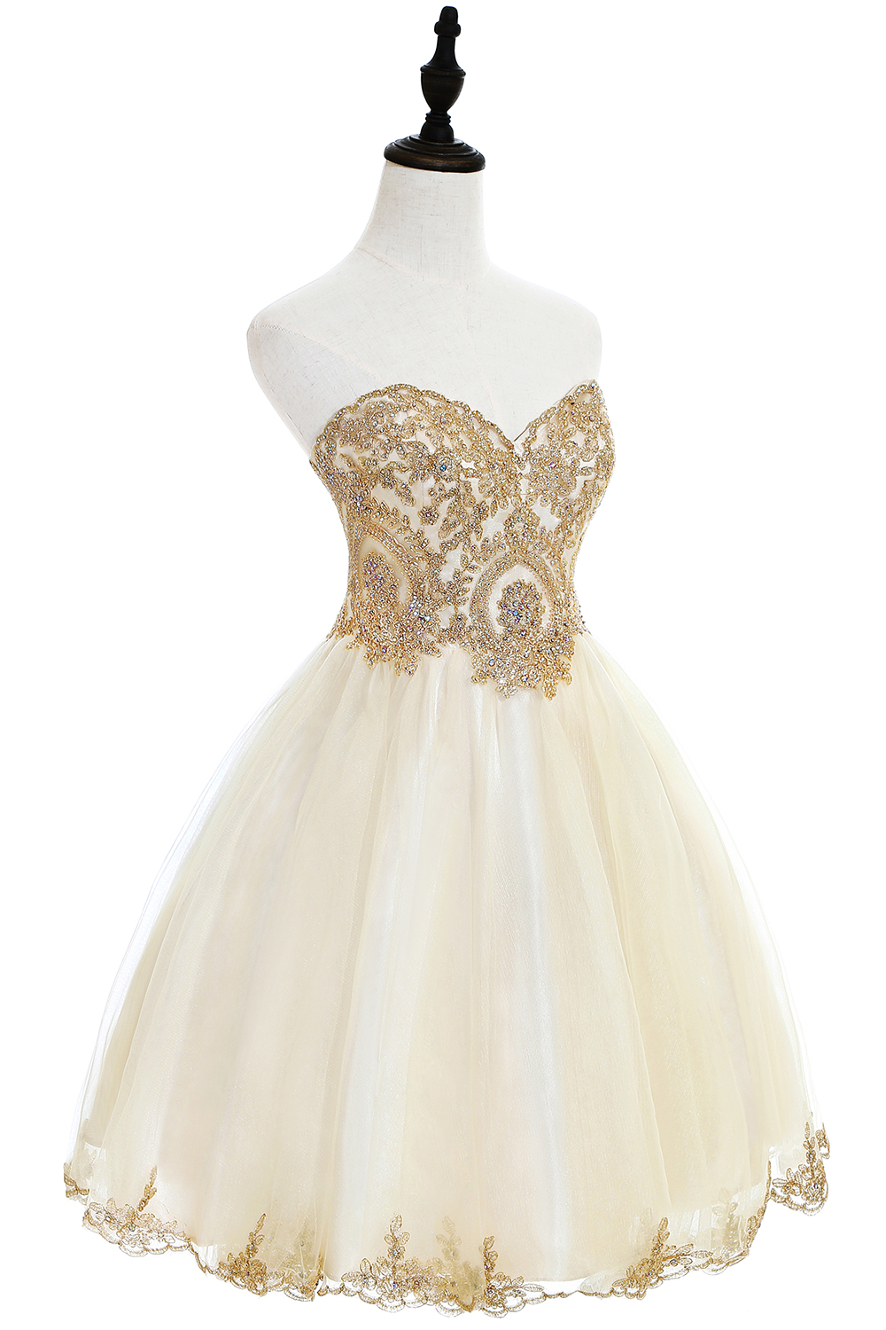 Champagne Sweetheart Tulle Knee Length Short Prom Dress