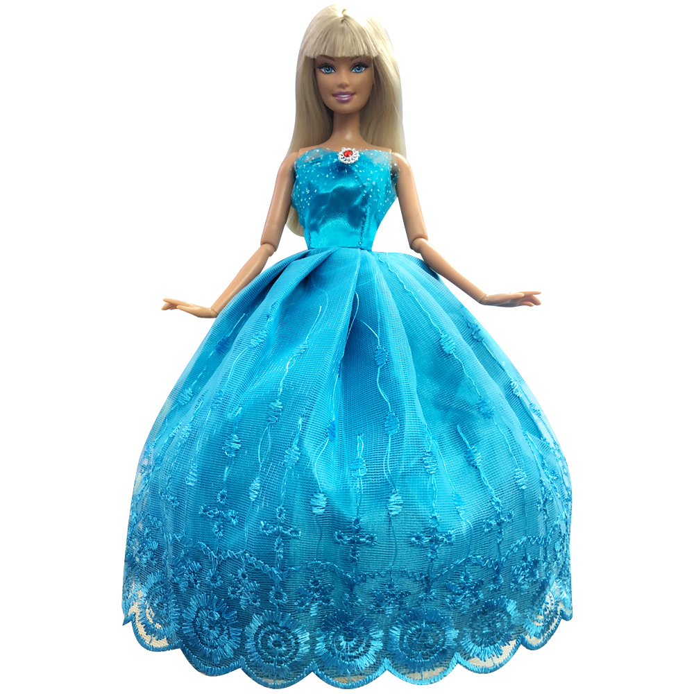 NK New Princess Doll  Wedding Dress Cute Navy Blue Lace Noble Party Gown For Barbie Doll Girl' Doll Toys Accessories 061A DZ