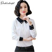 blouse women shirt  fashion formal long sleeve white blue camiseta mujer office plus size ladies tops
