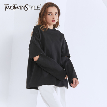 TWOTWINSTYLE Hole Sweatshirt For Women O Neck Long Sleeve Oversized Knitting Pullovers Casual Sweatshirts Female 2020 Clothing twotwinstyle korean hollow out sweatshirt for women o neck long sleeve casual black sweatshirts female 2020 fall fashion new