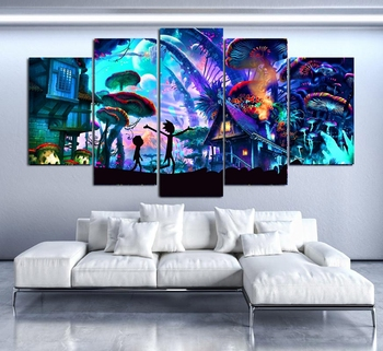 Canvas Wall Art Modular Pictures Home Decor 5 Pieces Rick And Morty Paintings Living Room HD Printed Animation Posters Framework canvas hd prints pictures wall art 5 pieces one piece monkey d luffy paintings anime poster living room decor modular framework