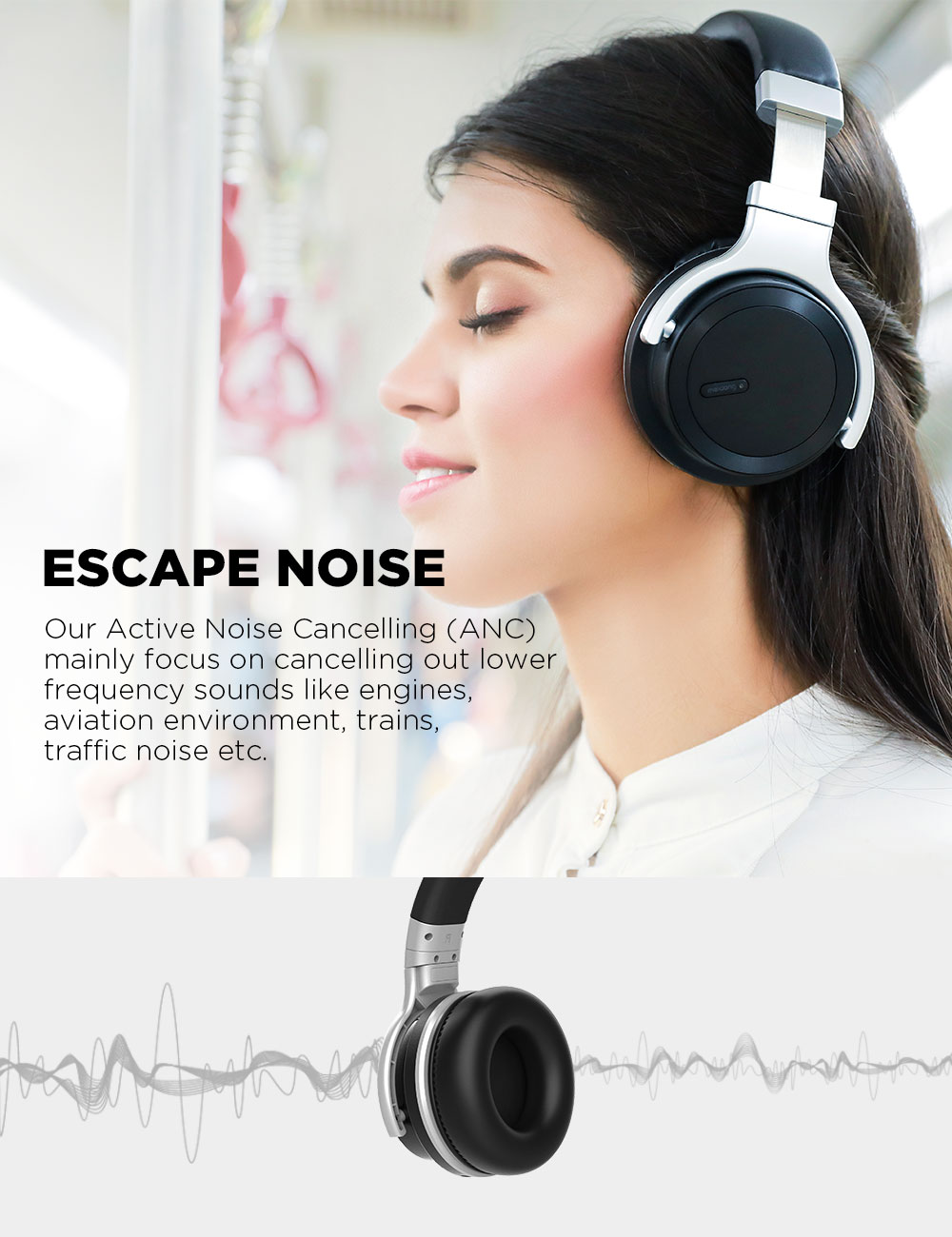Meidong E7MD-PRO Bluetooth Headphones Wireless Active Noise Cancelling Headphones Deep Bass Handsfree call ANC Headset with Mic