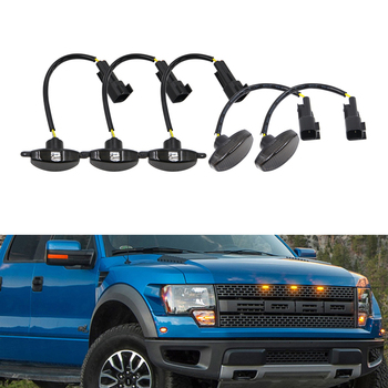 5x Smoke Amber Front Grille Led Running Lights Led Side Marker Lights Indicator For Ford F-150 SVT Raptor 2010-2014