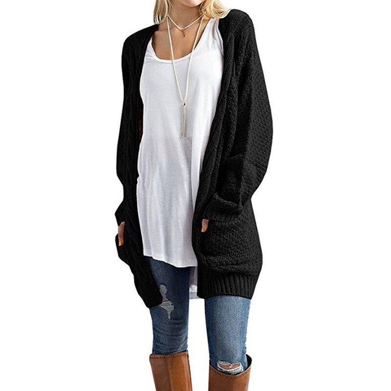 Plus Size Knitted Cardigan Women Spring Autumn Long Jacket Women Sweater 2019 Black Casual Coat Female Cardigan Mujer LD1150