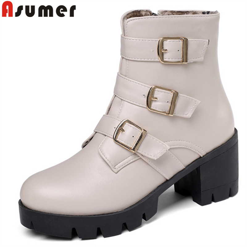 ASUMER Ankle-Boots Heels Platform Autumn Large-Size Women Ladies New Winter Round-Toe