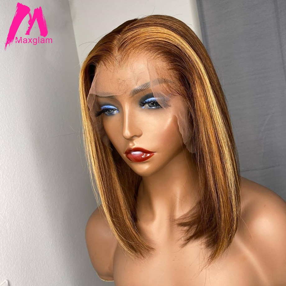 HOT SALES! Highlight Wig Human Hair Straight Bob Wig Brazilian Ombre Lace Front Wigs Colored Short Honey Blonde T Part Lace Wig For Women