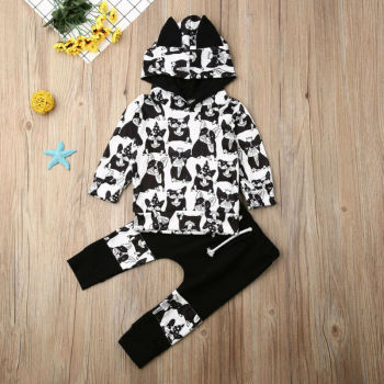 CANIS Autumn Spring 2pcs Kids Toddler Clothes Girls Long Sleeve Animal Printed Hoodie Tops+Pants Tracksuit Outfits Set