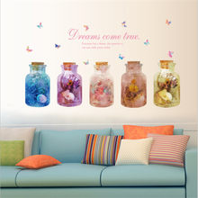 3D Fantasy Glass Bottle Wall Sticker Living Room Bedroom Wall Decoration Art Mural home decoration accessories(China)