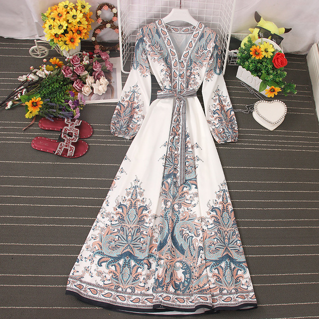 Fitaylor 2021 Spring Women New V Neck Long Sleeve Print Chiffon Lace-up  A-line Dress Casual Waist Slim Vacation Beach Dress 5
