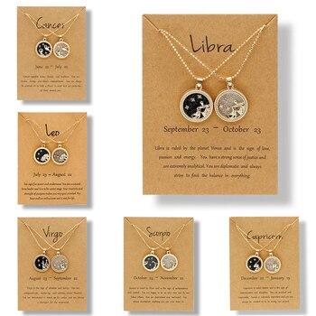 2020 mode 12 Constellation colliers pour femmes hommes cha ne en or signe du zodiaque pendentif