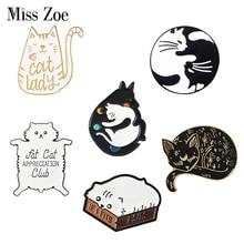 Мяу Кошка детский сад эмаль булавки коробка котенок обнимает кошек значок на заказ брошь сумка одежда нагрудные булавки мультфильм животных ювелирные изделия подарок