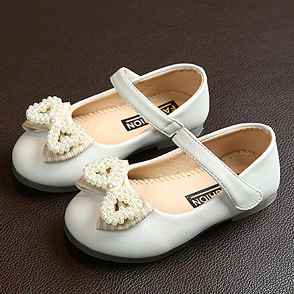 Toddler Infant Kids Baby Girls Elegant Bowknot Single Princess Casual PU Shoes