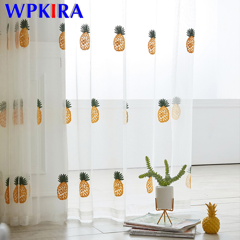 Pineapple Embroidered Voile Curtain For Kids Bedroom Living Room Kitchen Window Panel Modern Cartoon Children Curtain WP430D3