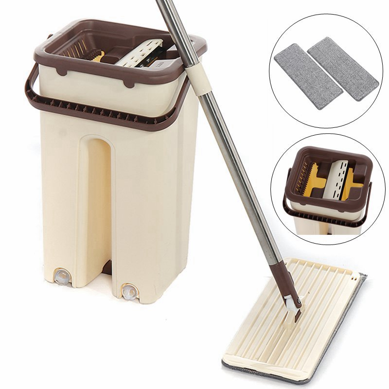 Flat Squeeze Mop and Bucket Hand Free Wringing Floor Cleaning Mop 360° Roatation Automatic Spin Mop Pads Wet or Dry Usage 1Set