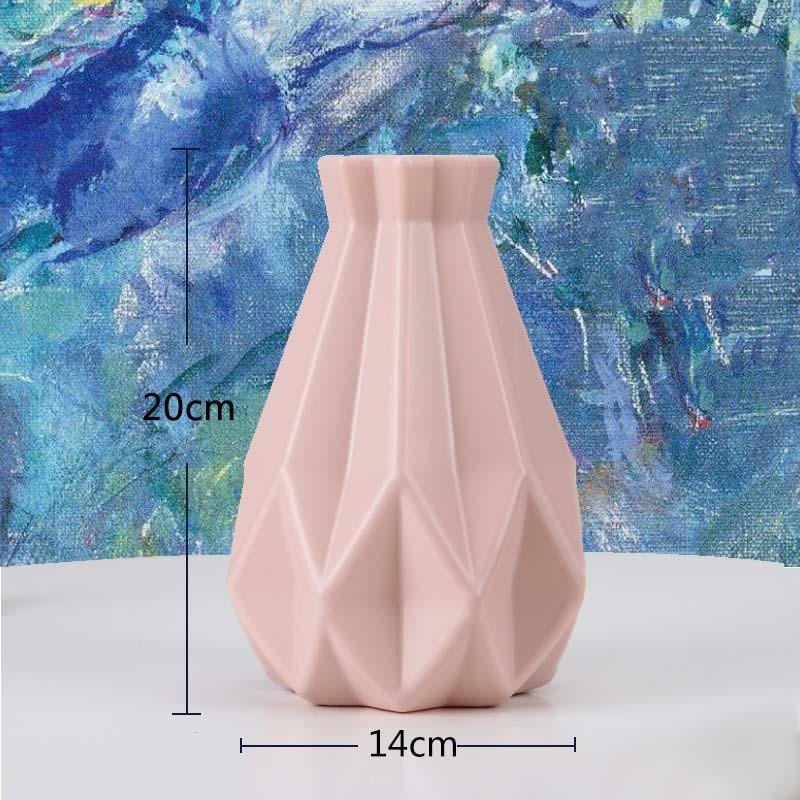 Оригами пластиковая ваза молочно-белая имитация керамического цветочного горшка Цветочная корзина Цветочная ваза для украшения интерьера скандинавские украшения - Цвет: 3505-Pink