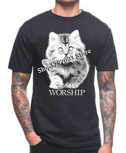 Cat Worship T Shirt Satan Crucifix Metal Kitty Hail For Youth Middle-Age Old Age Tee Shirt(China)