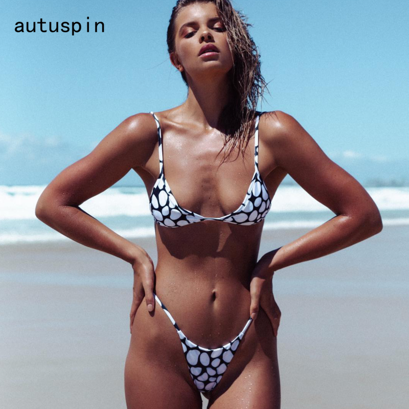 Autuspin Dot Women's Swimsuit Two Pieces Bikinis Set Brazilian Style Micro Bikini Sexy Bathing Suit Women Beachwear New Swimwear