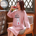 Женская трикотажная ночная рубашка, хлопчатобумажная ночная рубашка с круглым вырезом и длинными рукавами, с мультяшным рисунком, для лета