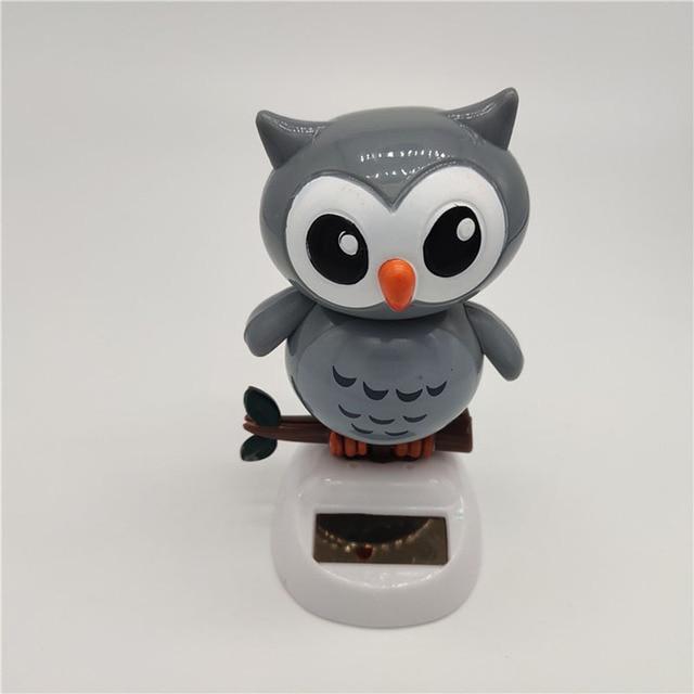 1Pcs Solar Powered Cute Owl Birds Shaking Head Car Ornament Solar Toys Classic Swing Doll Auto Dashboard Accessories Toys 6