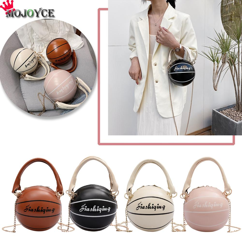 Basketball Round Shaped PU Leather Shoulder Bags For Women Casual Small Totes Purse Travel Messenger Crossbody Handbags