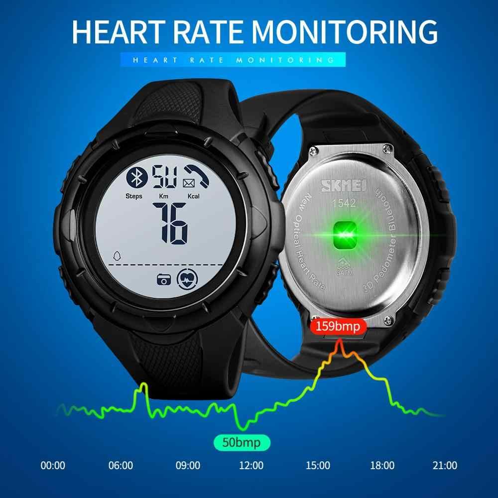 SKMEI mode hommes montres numériques militaire surveillance de la fréquence cardiaque podomètre alarme sport montres Montre homme 1542 horloge