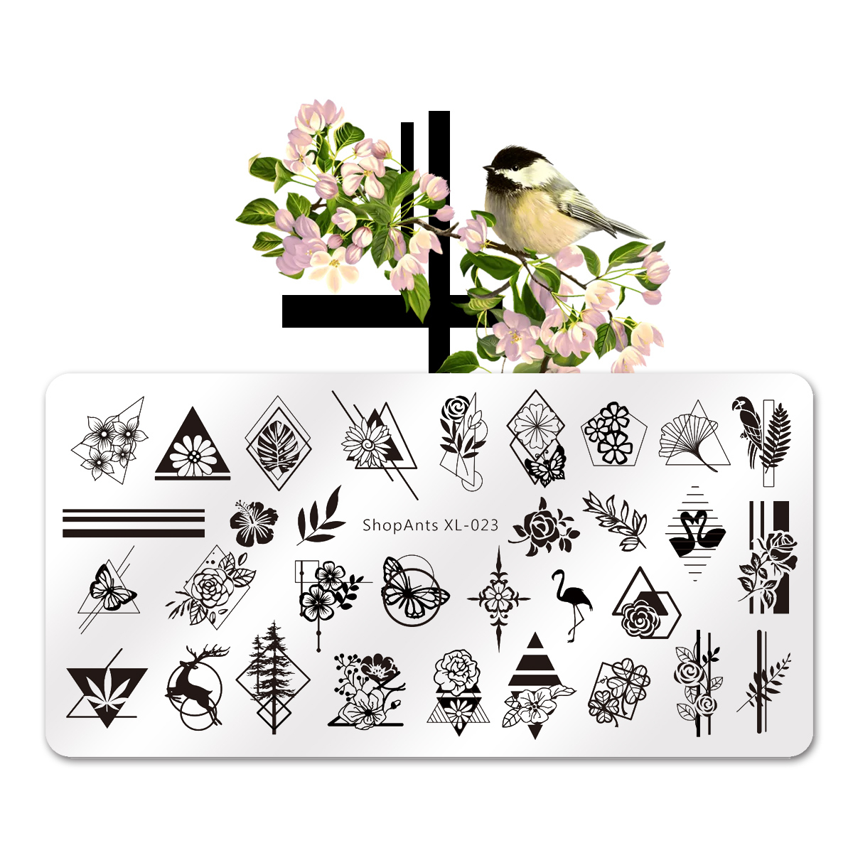 Stainless Steel 6*12cm Nail Stamping Plates Deer Bird Rose Butterfly Geometry Stripe Pattern Stencil Nail Art Stamp Templates