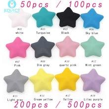 Cuentas gruesas de estrella de silicona, sin BPA, para dentición de bebé, cadena de chupete, pentagrama, 50/100/200/500 Uds.