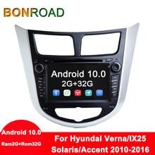 Bonroad Android 8,1 Автомобильный мультимедийный плеер Автомобильный DVD для Hyundai Solaris Verna Accent 2010-2016 Автомобильный gps Радио Видео навигация
