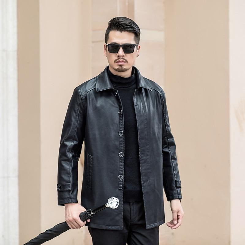 High Quality  Jacket Autumn Winter PU Leather JacketS Men Fashion Men Windbreaker Bomber Jacket Turn-down Collar Casual  Warm