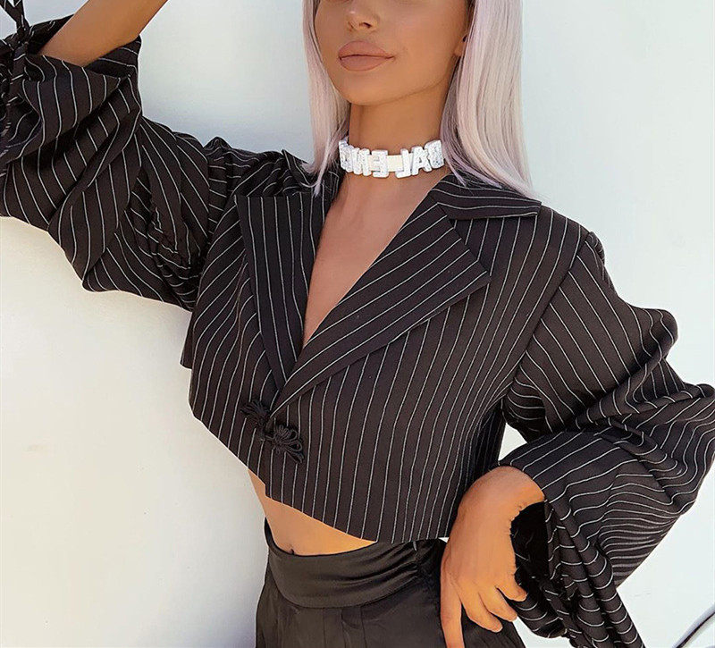 Women Striped Blazer V Neck  Black White Suit For Business Ladies Femeal Casual Half Exposed Navel Sexy Crop Tops