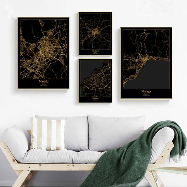 Madrid Spain Madurai India Malaga Spain <font><b>Malmo</b></font> Sweden Malta map Canvas poster Painting Home Decoration Wall Art Decor image