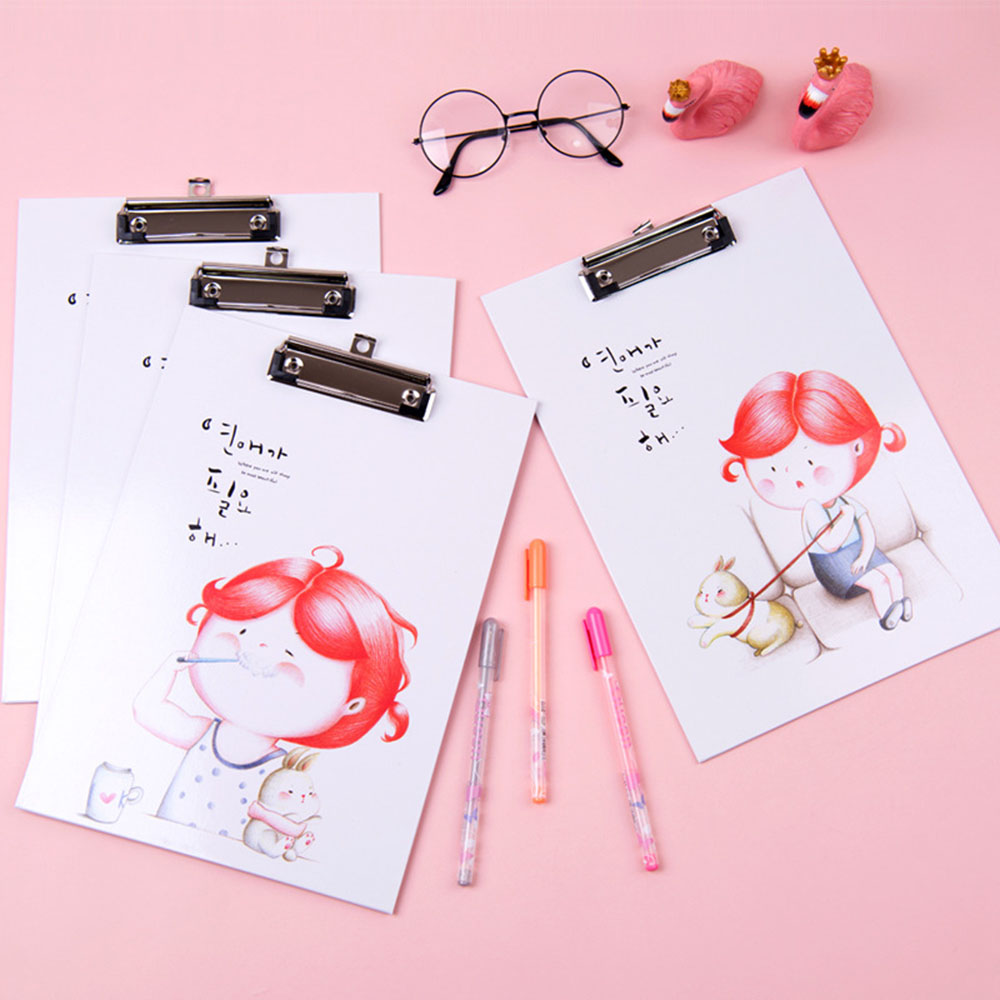 Cartoon Cute Girl A4 Board Clip Student Stationery Office File Folder Writing Wooden Pad 320*220 Mm