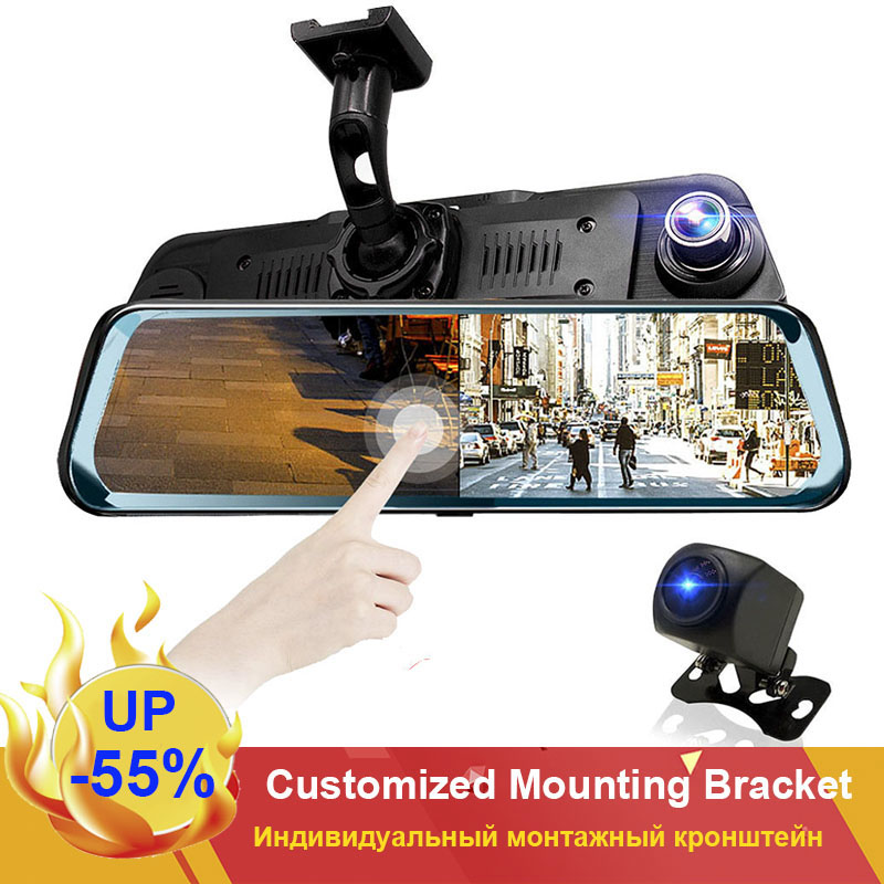 HGDO Car DVR Mirror Dashcam Auto-Driving-Recorder Touch-Screen Rear-View-Camera Night-Vision