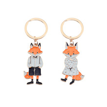 DIY Cute Cartoon Keychain For Women Girl Fox Mr. Fox Miss Animals Pendant Key Ring Lovely Creative Couple Jewellery Gifts 2019(China)