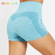 Colorvalue Seamless Sport Fitness Sets Women Tummy Control Training Gym Shorts Racerback Push Up Yoga Sports Bras with Padded