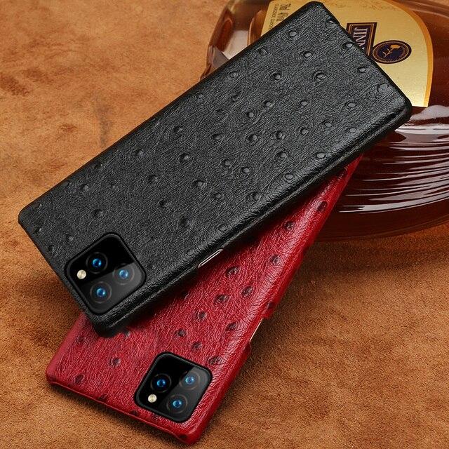 Skórzana twarda obudowa dla iphone 11 Pro max ckhb 16k strusia ziarna tylna pokrywa Fundas dla iphone XR Xs Max 7 8 Plus