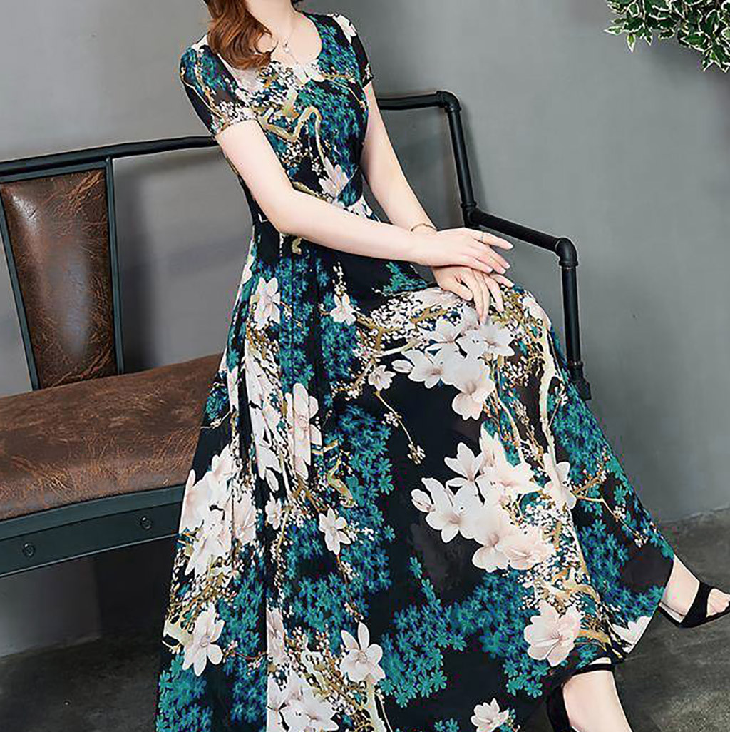 Fashion Summer Casual Floral Dress Women O neck Short Sleeve Long Printed Slim