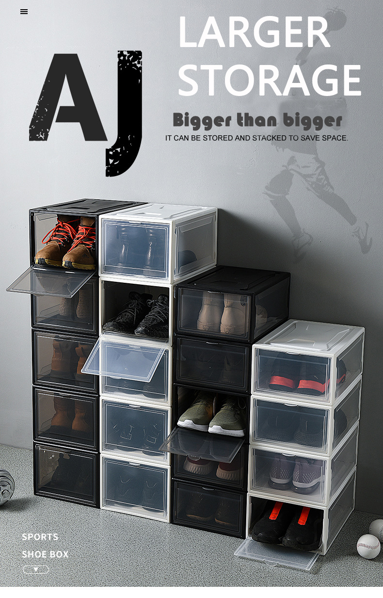 Plastic Stackable Shoe Storage Boxes Sneakers Box Shoe Box Storage Drawers For High Heels Sports Shoes Box Shoe Storage Boxes
