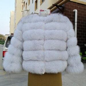 Image 3 - 2019 ผู้หญิงธรรมชาติ Blue Fox FUR Coat แจ็คเก็ตสั้นหนาของแท้ฤดูหนาวหรูหราสำหรับ grils outerwear กับแขน