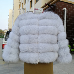 Image 3 - 2019 womens natural real blue fox fur coat jacket short thick warm genuine winter luxury for grils outerwear with sleeves
